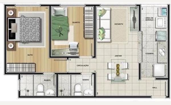 plantas de casas térreas com sala de estar e jantar