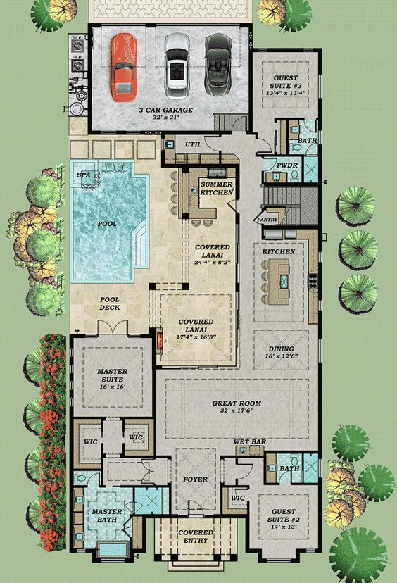 plantas de casas com 3 quartos com piscina e jardim