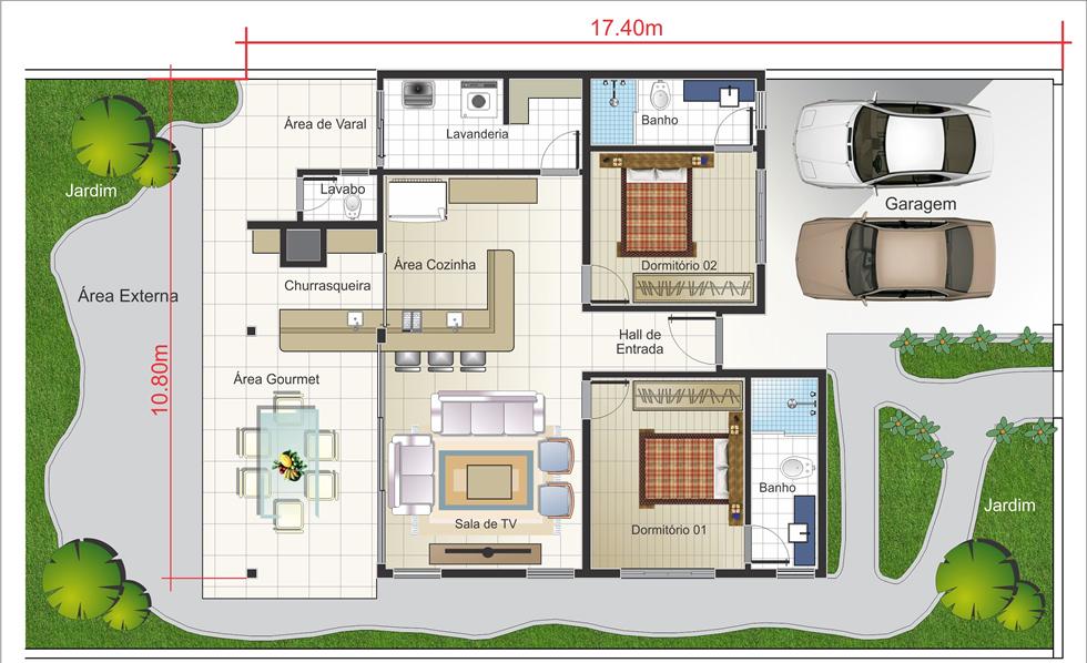 casa com duas vagas na garagem e área gourmet nos fundos