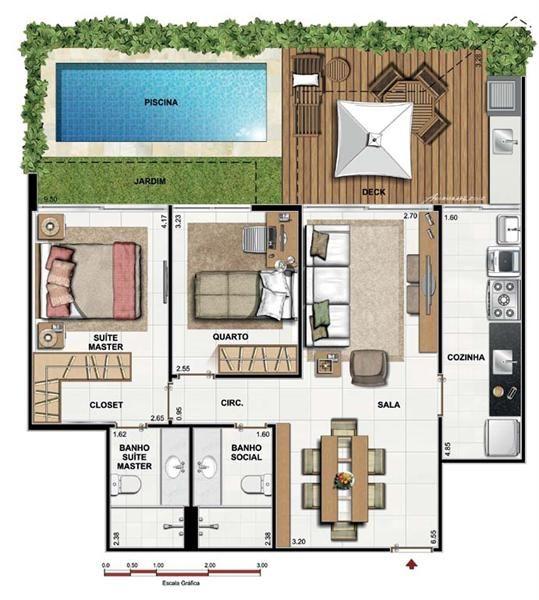 plantas de casas térreas com dois quartos e piscina