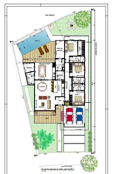 projeto de casa com piscina e jardim grandes
