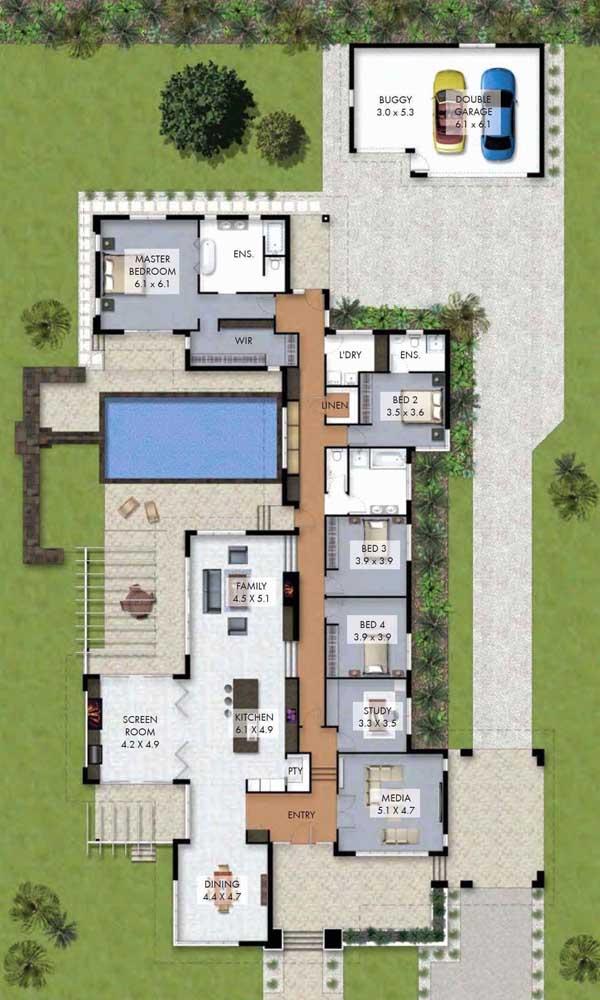 casa grande com piscina e jardim
