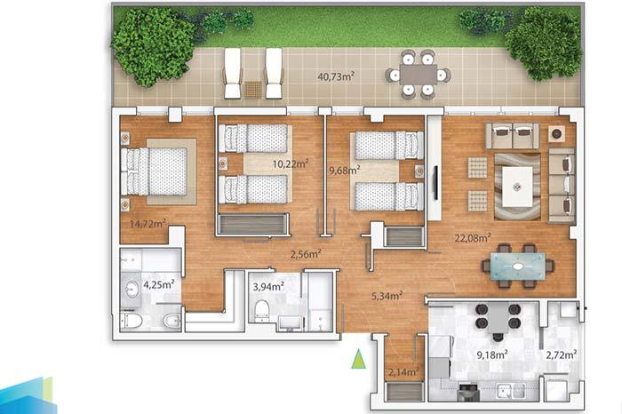 plantas de casas pequenas com sala de estar e jantar