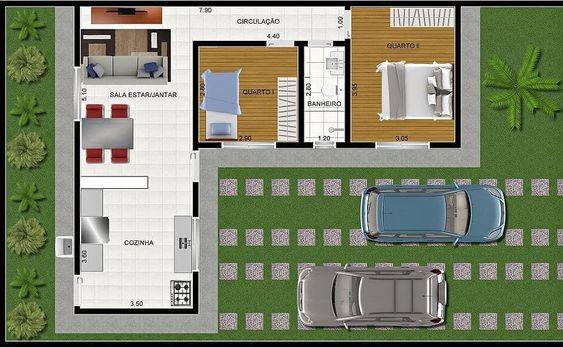 planta para casa dois quartos