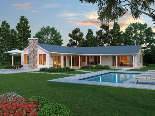 casa em L revestida de madeira com piscina