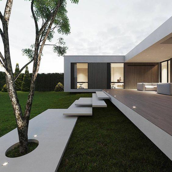 casa em L minimalista e moderna