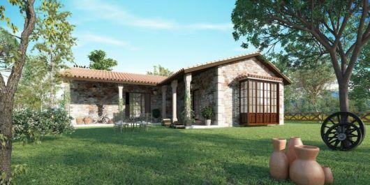 casa em l com pedras e madeira de campo