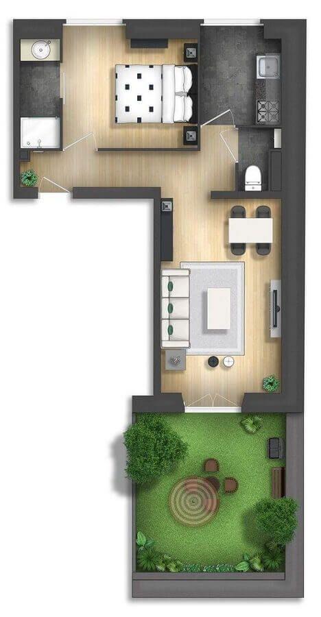planta para casa um dormitório