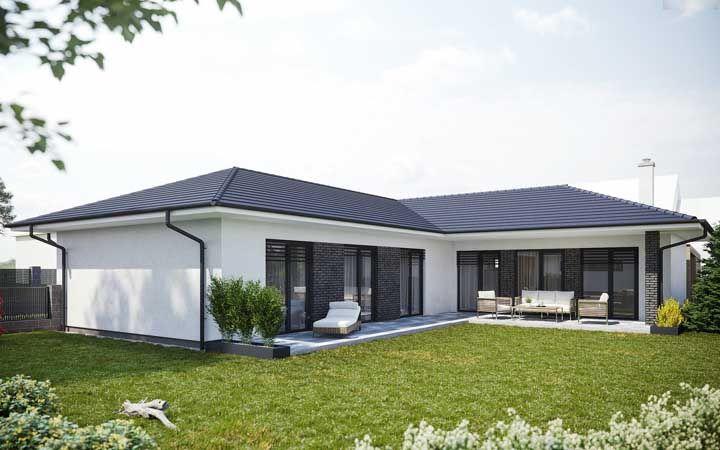 casa em l simples preta e branca