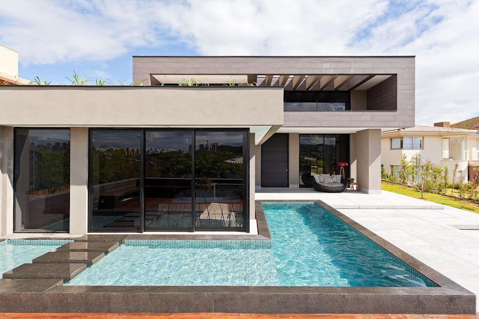 casa em l com piscina em l