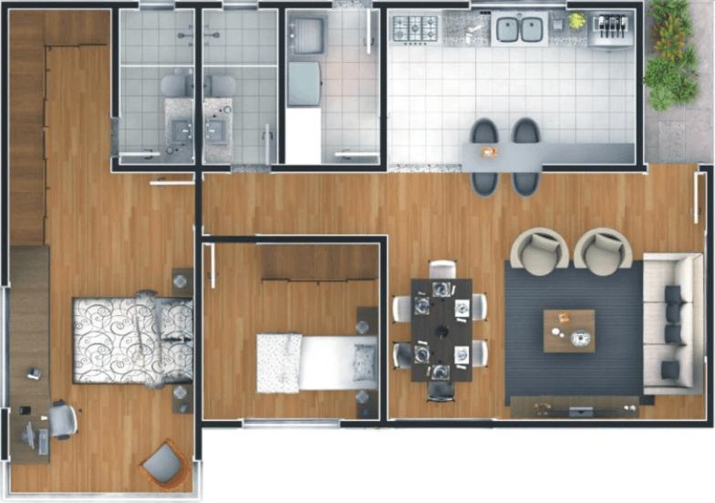 planta para casa em L com piso de madeira e 2 quartos