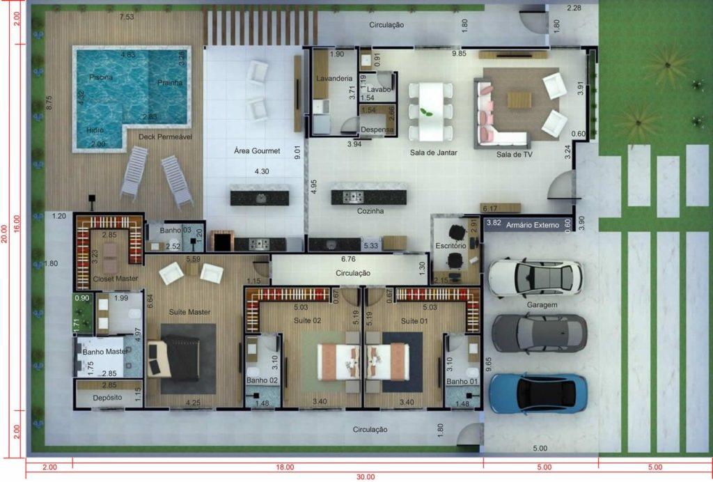 plantas de casas térreas  moderna com piscina em l