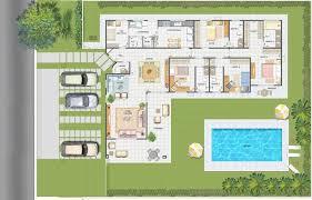 planta de casa com piscina e vaga para 3 carros