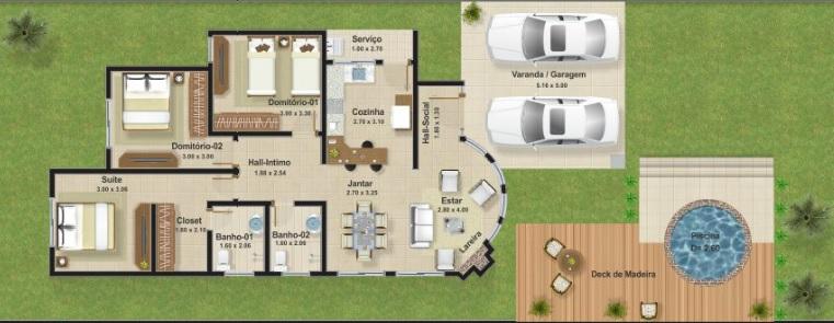 casa moderna com piscina redonda