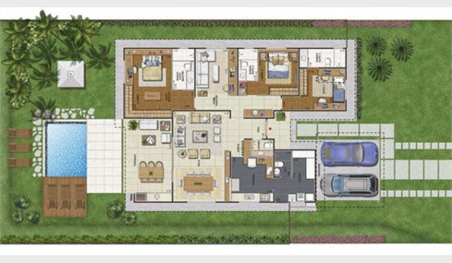 planta de casa moderna com piscina