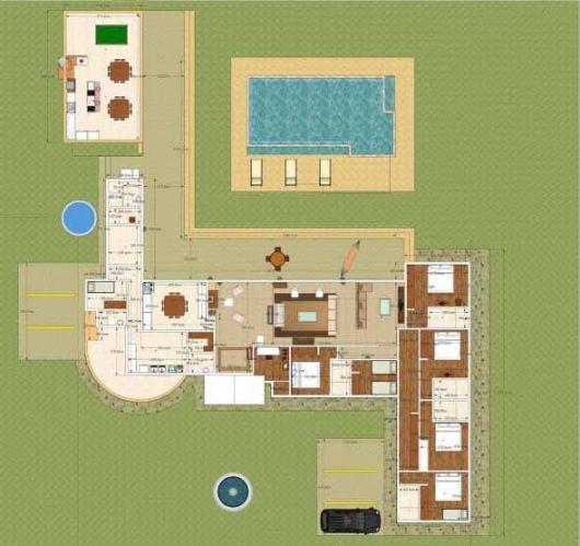 planta de casa com piscina e grande área de lazer.