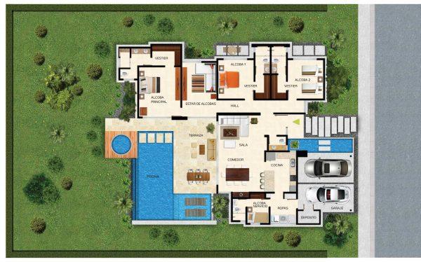 casa moderna com duas piscinas