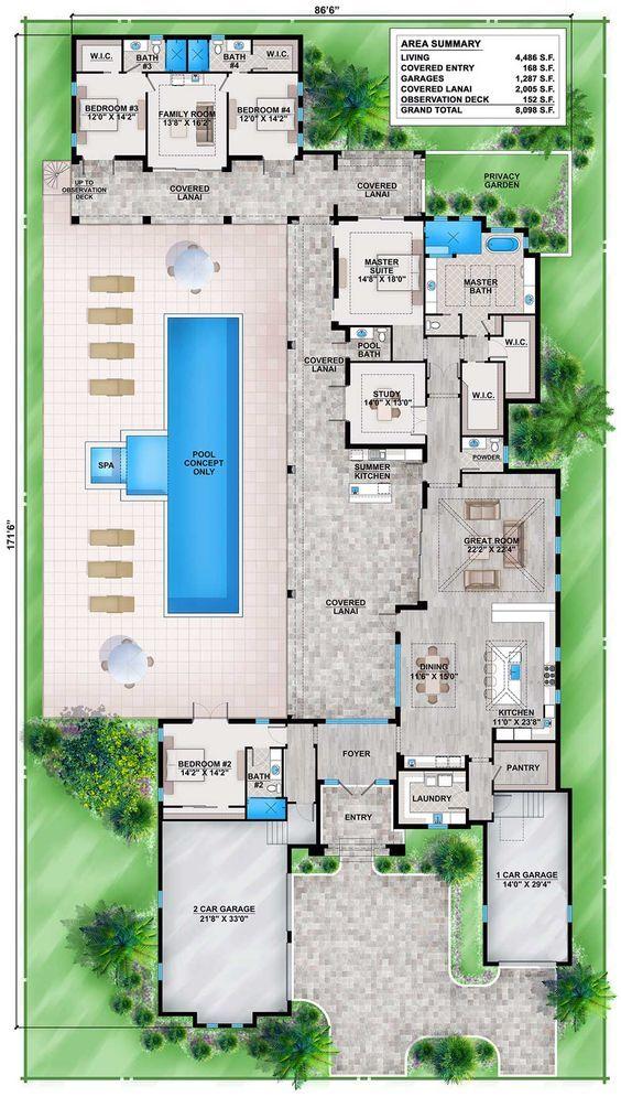 planta de casa moderna com piscina e suítes