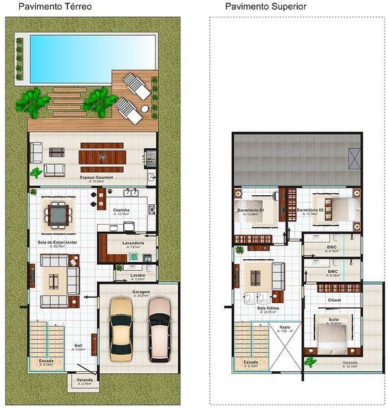 planta de casa moderna sobrado com piscina e deck de madeira