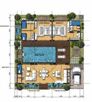 planta de casa moderna com piscina no centro