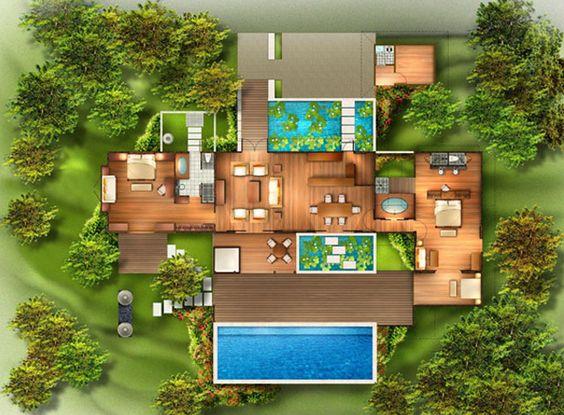 planta de casa moderna com dois lagos e piscina