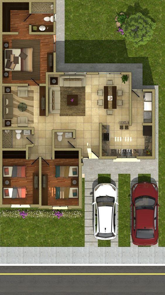 planta de casa moderna com 3 dormitórios