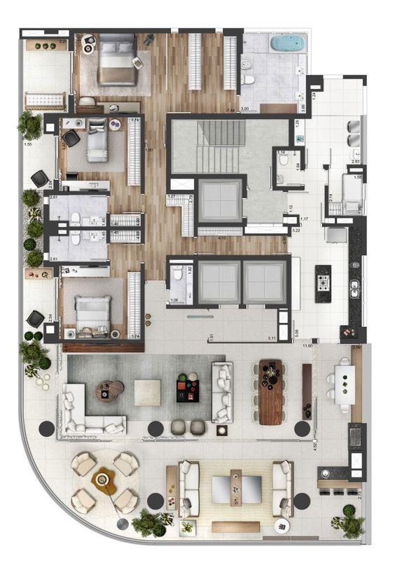 planta casa moderna com 3 suítes e varanda gourmet