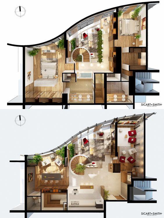 planta de casa moderna com suíte