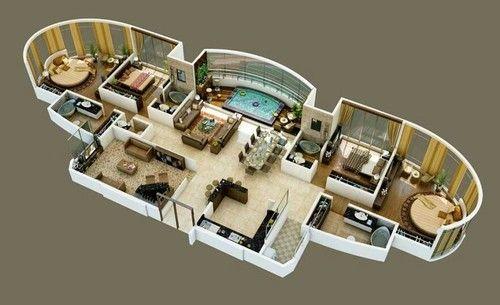planta de casa moderna com cantos arredondados
