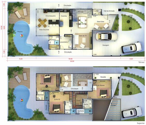 planta de casa moderna com piscina e duas vagas