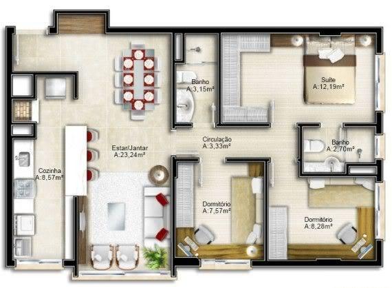 casa moderna com área social integrada