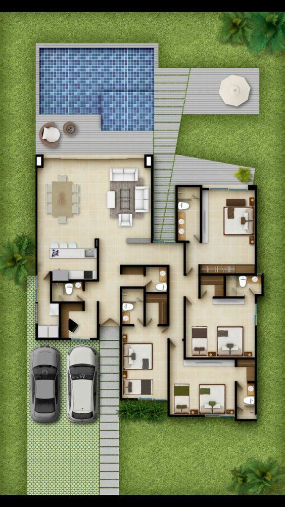 planta de casa com piscina e quintal