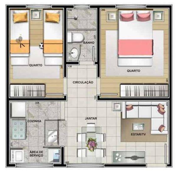 planta de casa moderna com 2 quartos e sala de estar