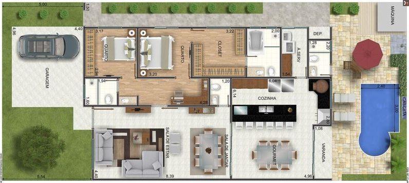 casa moderna com piscina e área gourmet
