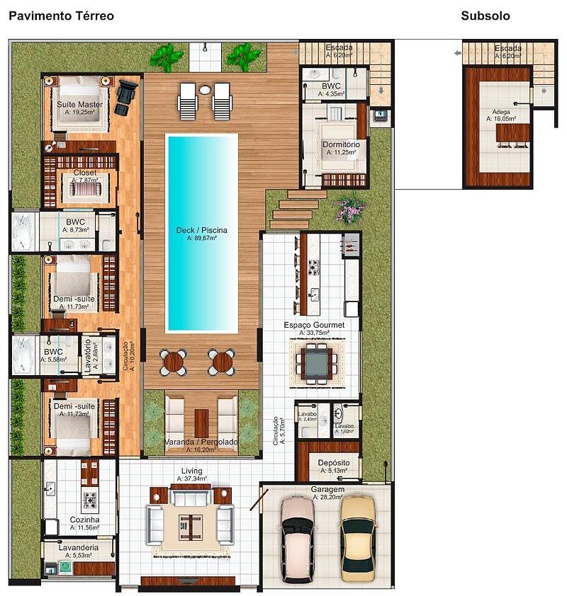 planta de casa grande com piscina central