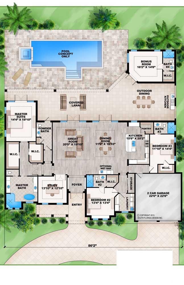 casa com piscina e área social grande
