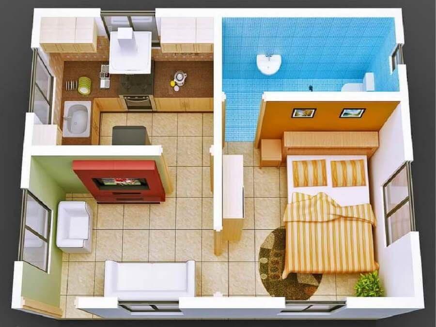 planta de casa pequena moderna