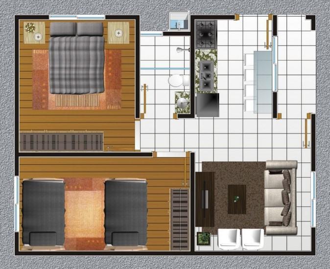 planta de casa moderna com dois dormitório e sala