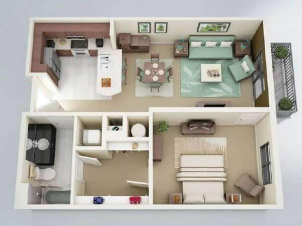 planta de casa moderna pequena com closet e suíte