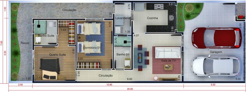 planta de casa pequena com duas vagas de garagem
