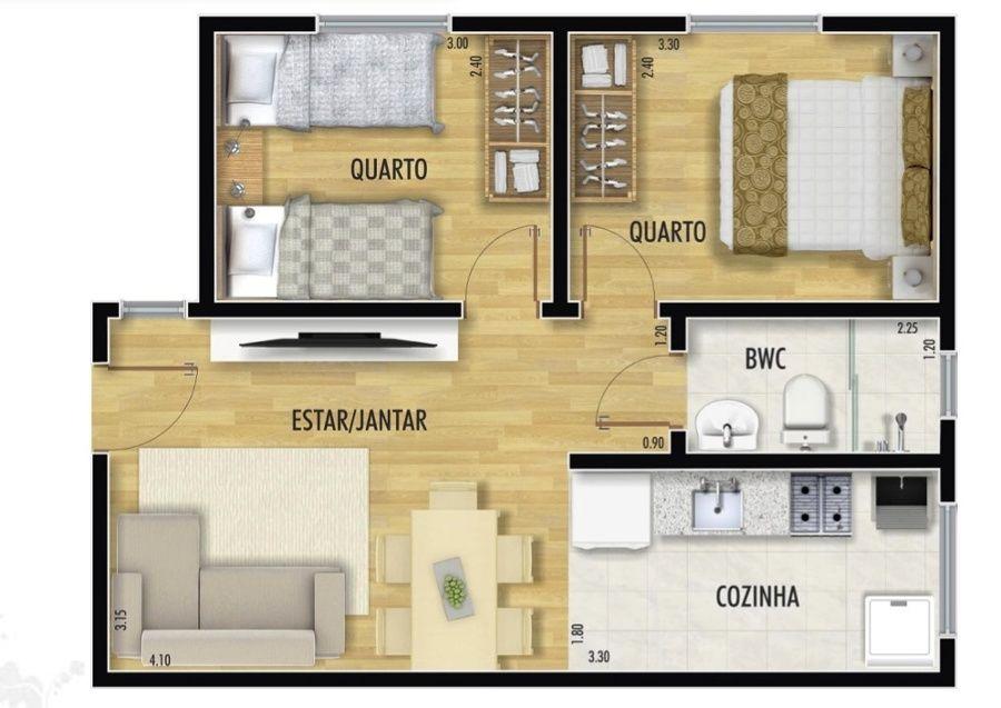 planta de casa pequena com cozinha e dois quartos