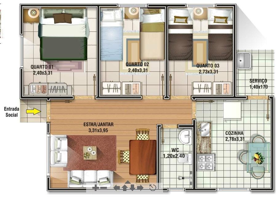 planta de casa grande com closet e cozinha fechada