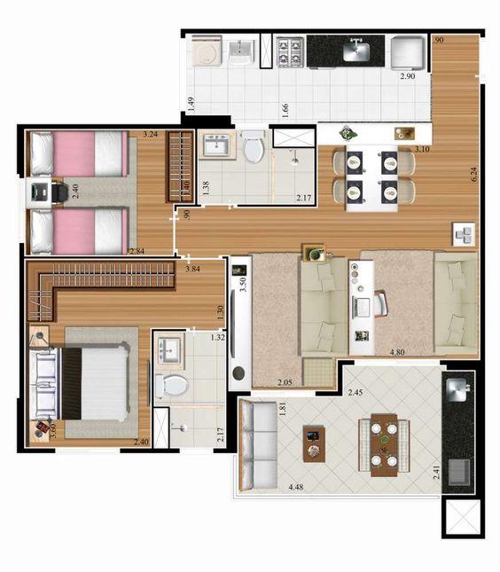plantas de casas pequenas com sala e cozinha