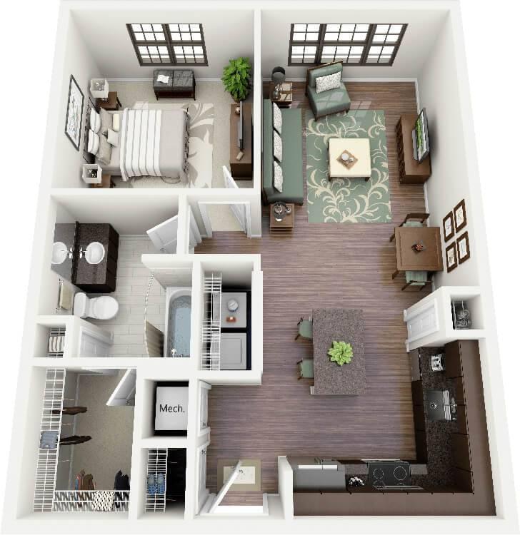 planta de casa com salas integradas e suíte com closet.
