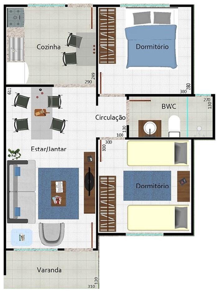planta de casa moderna  com salas integradas e varanda