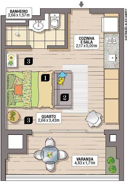 plantas de casas pequenas com um quarto