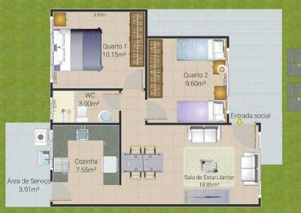 plantas de casas pequenas com cozinha e sala