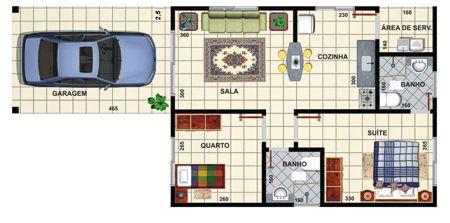 plantas de casas térreas com dois quartos e cozinha americana