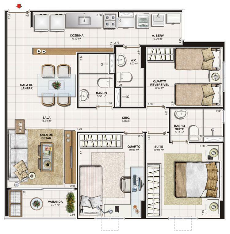 plantas de casas com 3 quartos com varanda