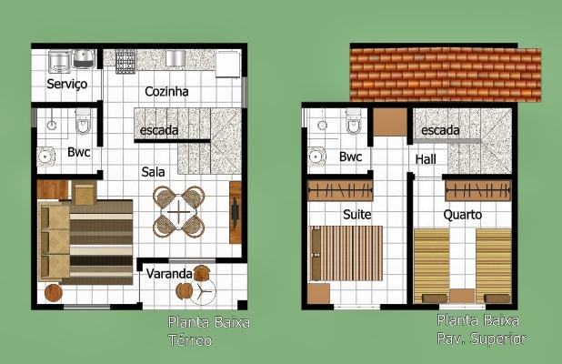 planta de casa moderna com suíte sobrado